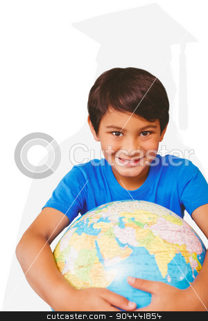 Composite image of pupil holding globe stock photo, Pupil holding globe against silhouette of graduate by Wavebreak Media