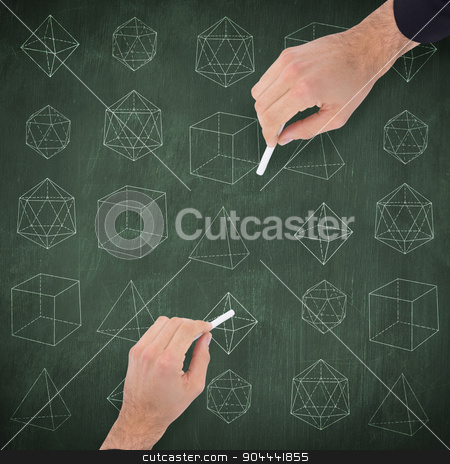 Composite image of hand of a businessman writing with a white ch stock photo, Hand of a businessman writing with a white chalk against green chalkboard by Wavebreak Media