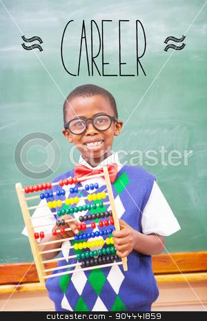 Career against smiling pupil holding abacus  stock photo, The word career against smiling pupil holding abacus  by Wavebreak Media
