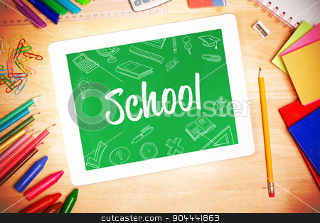 School against students desk with tablet pc stock photo, The word school and school doodles against students desk with tablet pc by Wavebreak Media