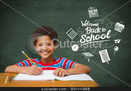 Composite image of smiling pupil stock photo, Smiling pupil against green chalkboard by Wavebreak Media