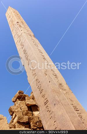 Obelisk of Hapshepsut stock photo, a vertical view of the Obelisk of Hapshepsut in the temple of Karnak, Luxor, Egypt by Noelia