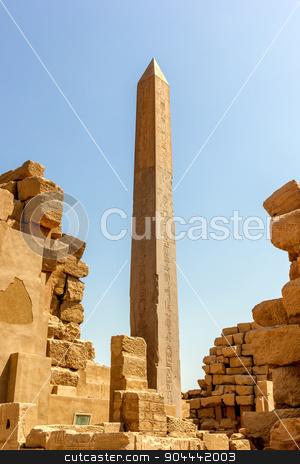 Obelisk of Hatshepsut  stock photo, a vertical view of the Obelisk of Hatshepsut in the temple of Karnak, Luxor, Egypt   by Noelia