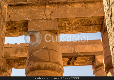 Hypostyle Hall of the Temple of Karnak stock photo, a horizontal view of a detail of roof of the Great Hypostyle Hall of the Temple of Karnak, Luxor (Egypt) by Noelia