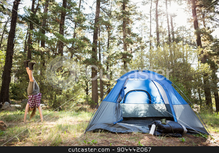 Carefree blonde camper doing handstand next to tent stock photo, Carefree blonde camper doing handstand next to tent in the nature by Wavebreak Media