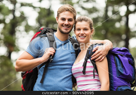 Portrait of young happy hikers stock photo, Portrait of young happy hikers in the nature by Wavebreak Media