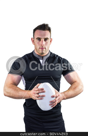 Tough rugby player looking at camera stock photo, Tough rugby player looking at camera on white background by Wavebreak Media