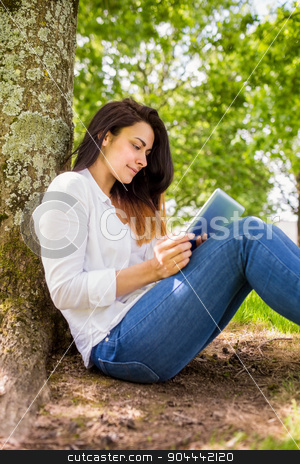 Beautiful brunette using tablet pc in the park stock photo, Beautiful brunette using tablet pc in the park on a sunny day by Wavebreak Media
