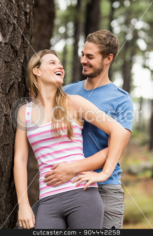 Young happy hiker couple laughing stock photo, Young happy hiker couple laughing in the nature by Wavebreak Media