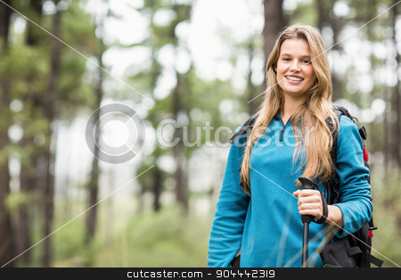 Portrait of a young pretty hiker stock photo, Portrait of a young pretty hiker in the nature by Wavebreak Media