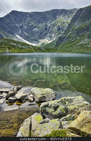 Reflection of Rila Mountain in The Trefoil lake stock photo, Reflection of Rila Mountain in The Trefoil lake, The Seven Rila Lakes, Bulgaria by Stoyan Haytov
