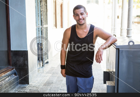 Portrait of an handsome athlete stock photo,  Portrait of an handsome athlete on a sunny day by Wavebreak Media