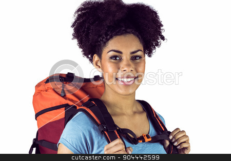 Portrait of a young woman with backpack stock photo, Portrait of a young woman with backpack on a white background by Wavebreak Media