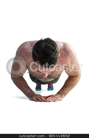 Strong bodybuilder doing press up stock photo, Strong bodybuilder doing press up on white background by Wavebreak Media