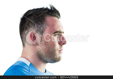 Tough rugby player looking away stock photo, Tough rugby player looking away on white background by Wavebreak Media