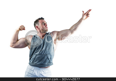 Handsome bodybuilder posing with arms up stock photo, Handsome bodybuilder posing with arms up on white background by Wavebreak Media