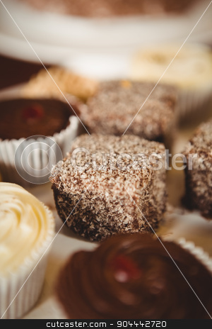Close up view of cupcakes stock photo, Close up view of cupcakes at coffee shop by Wavebreak Media
