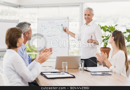 Businessman conducting presentation to colleagues stock photo, Businessman conducting presentation to colleagues in the office by Wavebreak Media