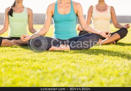 Sporty women doing yoga together stock photo, Sporty women doing yoga together in parkland by Wavebreak Media