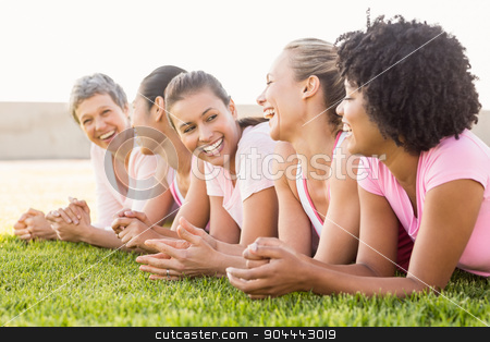 Smiling women lying in a row and wearing pink for breast cancer stock photo, Smiling women lying in a row and wearing pink for breast cancer in parkland by Wavebreak Media
