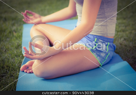 Sporty woman meditating on exercise mat stock photo, Sporty woman meditating on exercise mat in parkland by Wavebreak Media