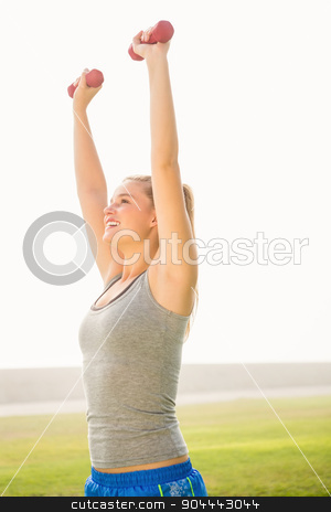 Smiling sporty blonde lifting dumbbells  stock photo, Smiling sporty blonde lifting dumbbells in parkland by Wavebreak Media