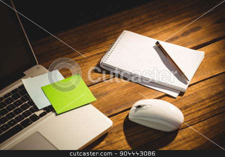 Overhead view of an desk stock photo, Overhead view of an desk with electronic devices by Wavebreak Media