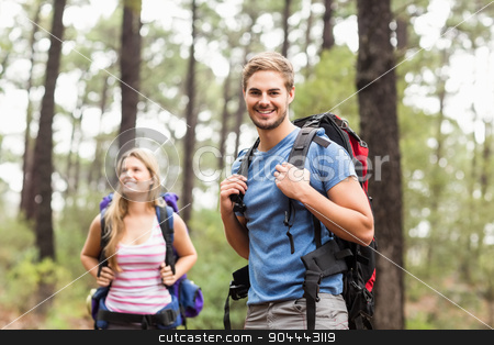 Young happy hiker couple  stock photo, Young happy hiker couple in the nature by Wavebreak Media