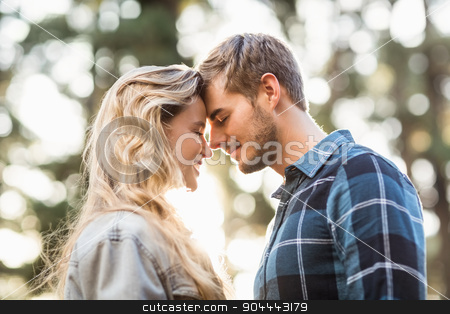 Happy young camper couple touching foreheads stock photo, Happy young camper couple touching foreheads in the nature by Wavebreak Media