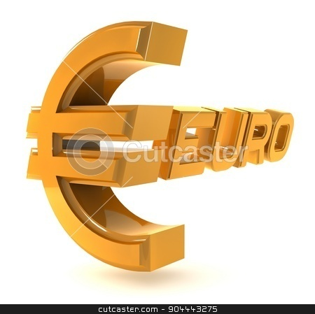 Gold emblem euro isolated on a white background stock photo, Three-dimensional yellow sign on the Euro white background. by Vladimir Khapaev