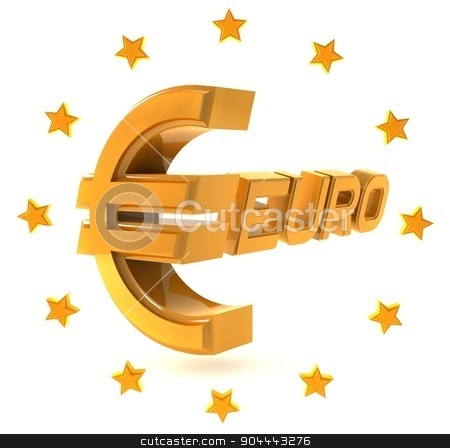 Gold emblem euro isolated on a white background with stars around stock photo, Three-dimensional yellow sign on the Euro white background. by Vladimir Khapaev