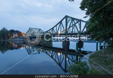 Whole Glienicke Bridge stock photo, Glienicke Bridge is reflected in the Havel in Potsdam by Bernd Kröger