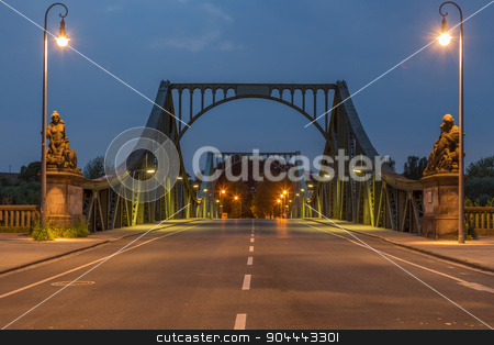 Glienicke Bridge frontal stock photo, Lanes on the Glienicke Bridge in Potsdam at night by Bernd Kröger