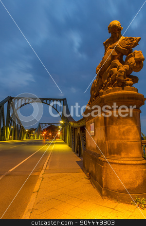 Statue of Glienicke Bridge stock photo, Male statue with fish at the beginning of the Glienicke Bridge by Bernd Kröger