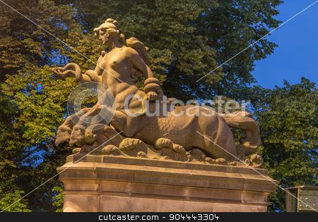Horse woman statue stock photo, Statue of a horse woman at the Glienicke Bridge in Potsdam by Bernd Kröger