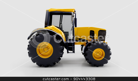 Farm tractor in studio stock photo, Farm tractor in light studio by Alex Varlakov