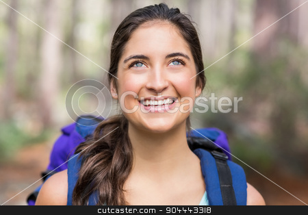 Happy jogger looking away stock photo, Happy jogger looking away in the nature by Wavebreak Media