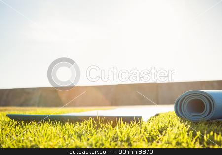 Exercise mat lying on the grass stock photo, Exercise mat lying on the grass at promenade by Wavebreak Media
