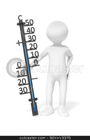 man with thermometer stock photo, An image of a simple 3d man holding a thermometer by Markus Gann