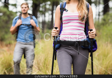 Mid section of a pretty hiker stock photo, Mid section of a pretty hiker in the nature by Wavebreak Media
