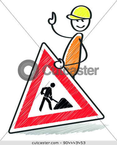warning sign stock photo, An image of a warning sign with a stick man by Markus Gann