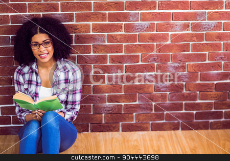 Attractive hipster sitting and reading book stock photo, Portrait of attractive hipster sitting and reading book against red brick background by Wavebreak Media