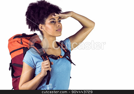 Young woman with backpack looking away stock photo, Young woman with backpack looking away against a white background by Wavebreak Media