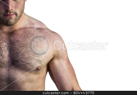 Strong bodybuilder with no shirt stock photo, Strong bodybuilder with no shirt on white background by Wavebreak Media