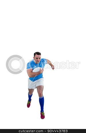 Rugby player running with the ball stock photo, Rugby player running with the ball on white background by Wavebreak Media