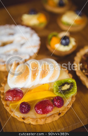 Close up view of fruit pies stock photo, Close up view of fruit pies at coffee shop by Wavebreak Media
