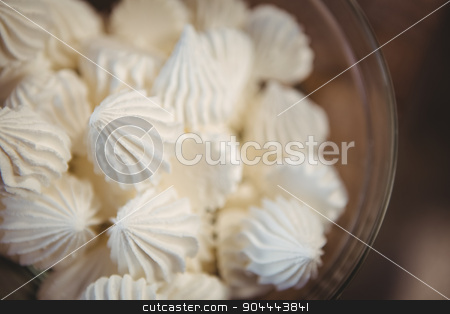Close up view of meringues in a bowl stock photo, Close up view of meringues in a bowl at coffee shop by Wavebreak Media