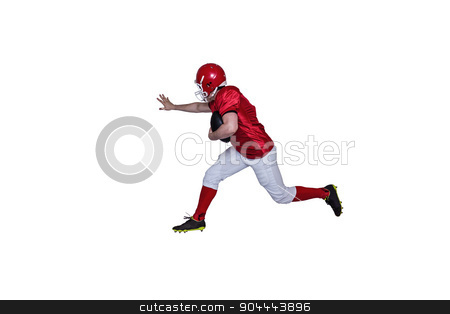 American football player running with the ball stock photo, American football player running with the ball on a white background by Wavebreak Media