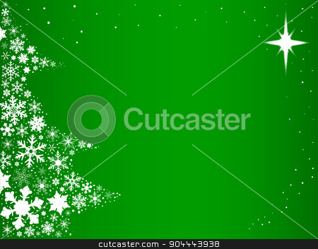 Green Christmas stock vector clipart, Green background with snowflakes in the form of a Christmas Tree. by Kotto