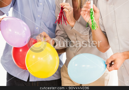 Casual business people celebrating birthday stock photo, Casual business people celebrating birthday in the office by Wavebreak Media